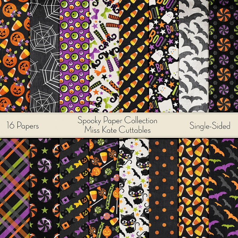 Miss Kate Designs Halloween Digital Paper For Scrapbooking Card Making Paper Crafting Digital Paper