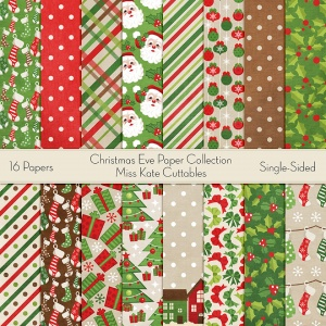 Christmas Eve Paper CollectionMiss Kate Designs Digital Paper for Scrapbooking, Card Making, Paper Crafting, Digital Paper