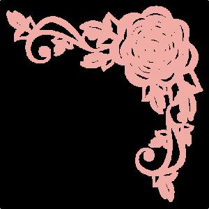 Rose Corner Flourish SVG scrapbook cut file cute clipart files for silhouette cricut pazzles ...