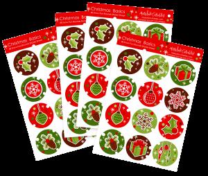 Christmas Basics - 48 Round Stickers - SSchristmasbasicsround - Sticker Packs - MKC - Paper Products