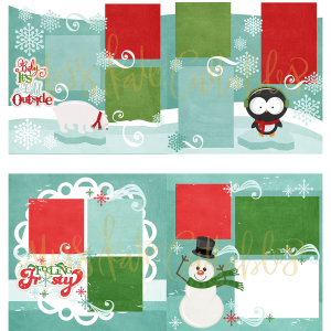 Baby it's Cold Outside & Feeling Frosty - Printed Layouts - PLbabyitscoldfeelingfrosty - Miss Kate Cuttables - Christmas
