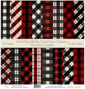 Red & Black Buffalo Check - Paper Pack - PPrandbbuffalo - Miss Kate Cuttables - Christmas