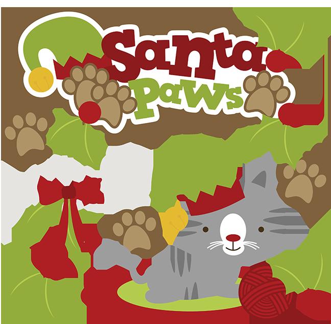 Santa Paws SVG cat clipart cat svg cute cat clip art christmas svg