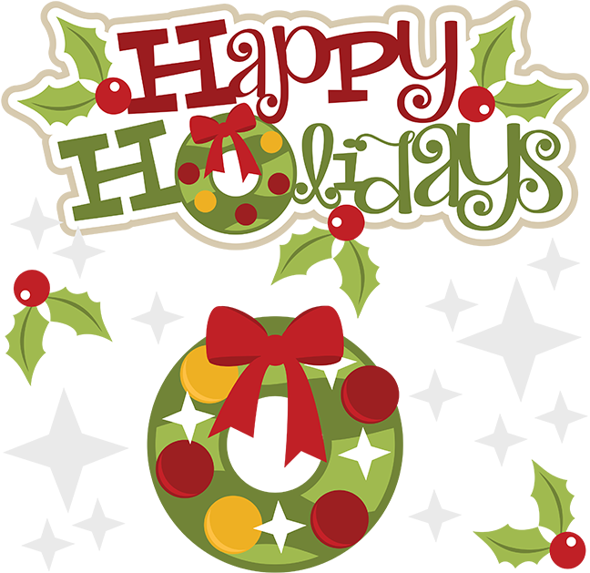 Happy Holidays SVG Svg File Clipart Cute Clip Art Christmas Wreath