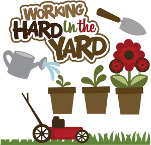 Working Hard In The Yard SVG lawn mower svg file yard work scrapook idea cute clipart