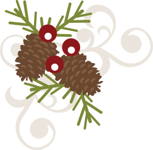 Pinecone Berry Swirl SVG free svg file free scrapbooking svg file christmas svg file