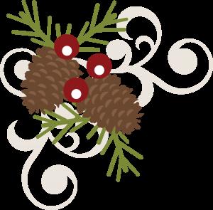 Pinecone Berry Swirl SVG free svg file free scrapbooking svg file christmas svg file
