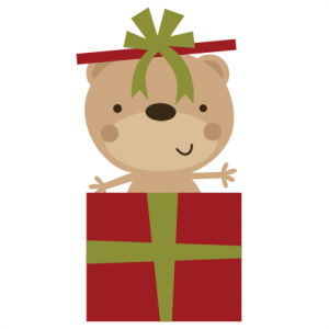 Bear In Present SVG file for scrapbooking christmas svg files christmas cut files for scrapbooks