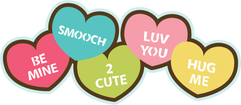 Candy Hearts Svg File For Scrapbooking Cardmaking