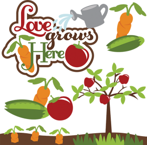 Love Grows Here SVG gardening svg files carrot svg file tomato svg file peapod svg file for scrapbooking free svgs