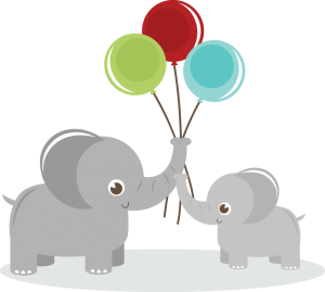 Elephants Holding Balloons SVG elephant clipart cute clip art cute elephant svg files for cutting machines