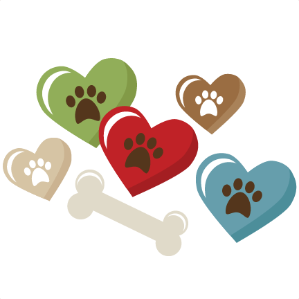 heart pawprints and bone svg scrapbook title puppy svg