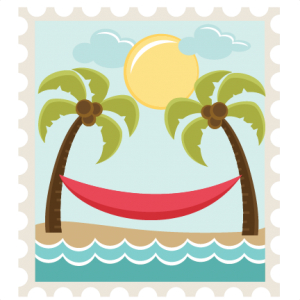 Beach Scene Stamp  SVG files for scrapbooking palm tree svg file svg file sun svg file seashell svg file