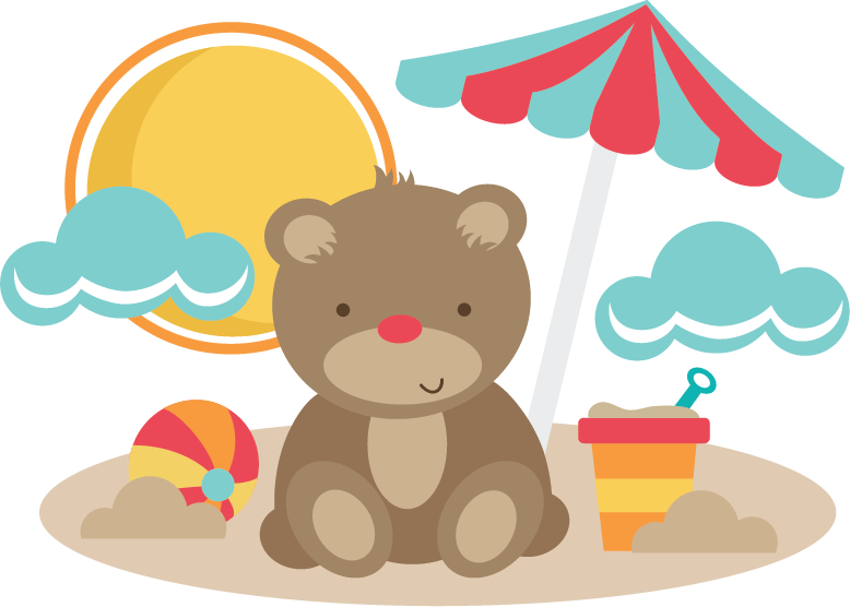 Bear At The Beach SVG cut files for scrapbooking bear svg