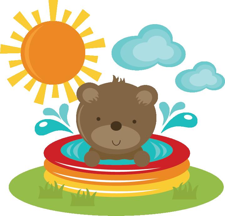 Bear In Pool SVG cut files for scrapbooking bear svg file