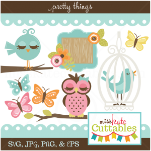 Pretty Things SVG Bundle bird svg file butterflies svg files owl svg files cute clipart cute svgs