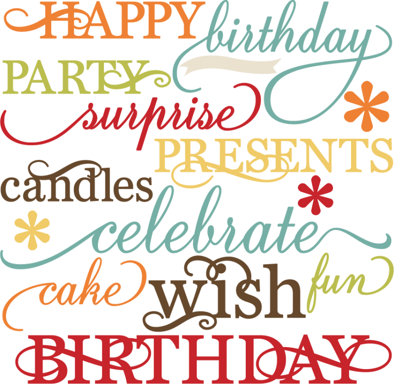 birthday words set svg cutting files for scrapbooking paper crafts