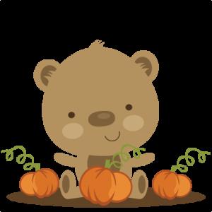 Bear In Pumpkin Patch SVG scrapbook file bear svg file cute bear svg file cute svg cuts free svgs free svg cut files