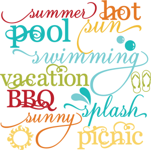 Summer Words Set SVG scrapbook title summer svg files cloud svg files sun svg cuts