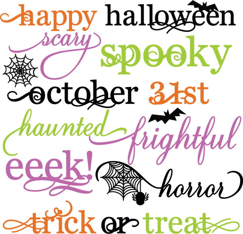 Halloween Words Set SVG scrapbook title spiderweb svg cut file ...