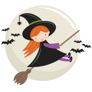 Cute Flying Witch SVG cut file halloween svg cut files halloweeen scal cutting files free svg cuts