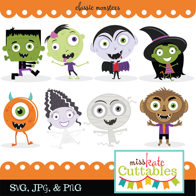 Classic Monster SVG bundle monster svg cut files cute halloween ...