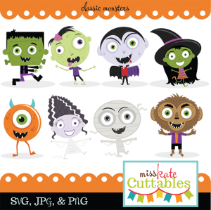 Classic Monster SVG bundle monster svg cut files cute halloween clipart free svg cuts halloween monster svg files