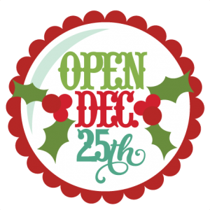 Open Dec 25th Tag SVG cutting file christmas svg cut files cute christmas clipart