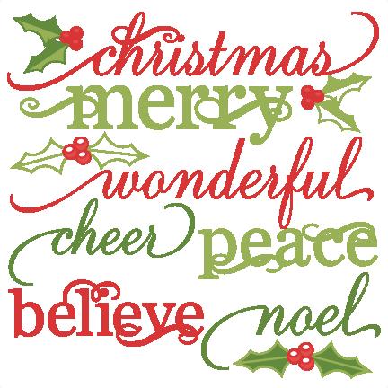 Christmas Words Set cute christmas words clipart SVG ...