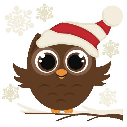 winter owl svg cutting file christmas svg files Merry Christmas Clip Art Cartoon Christmas Owl Clip Art