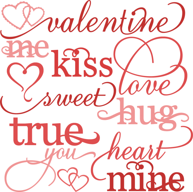 Valentine Word Set Svg Cutting Files Valentines Day Clipart Cute