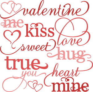 Valentine Word Set SVG cutting files valentines day clipart cute clipart free svg cut files