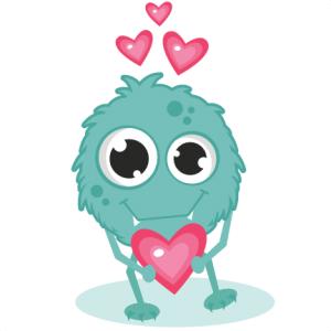 Monster In Love SVG cutting files monster svg cut cute monster clipart valentines svg cuts