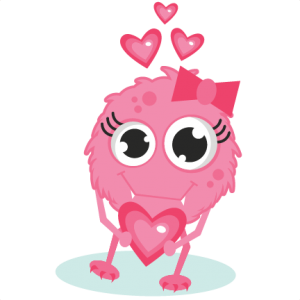 Girl Monster In Love SVG cutting files valentines day svg cut files free svg cuts cute svg files