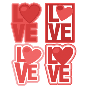 LOVE Titles SVG scrapbook titles love svg cut files valentines day svg cut files