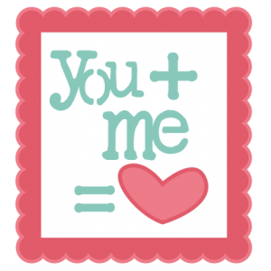 You Plus Me Equals Heart SVG scrapbook title valentines day svg cut files
