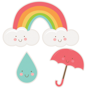 Happy Spring Set SVG cutting files rainbow svg cut file raindrop svg cut file umbrella svg cut file free svgs