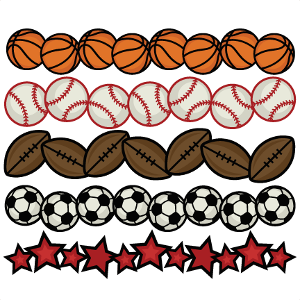 sports borders svg cutting files for scrapbooking sports balls rh misskatecuttables com Sports Clip Art Black and White free sports themed border clip art