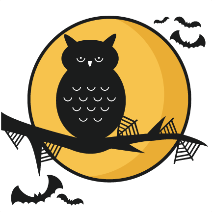 Halloween Owl Scene SVG Scrapbook Title Cutting Files Crow Svg Cut File Cute For Cricut Free Svgs