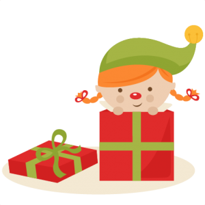 Girl Elf in Present SVG cutting files christmas svg cuts free svgs cute cut files for cricut cute svgs cute christmas clip art