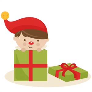 Boy Elf in Present SVG cutting files christmas svg cuts free svgs cute cut files for cricut cute svgs cute christmas clip art