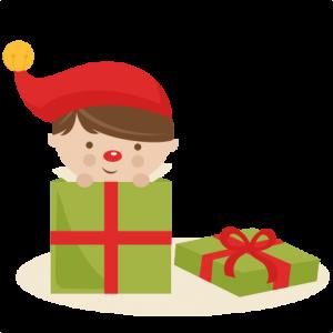 Boy Elf in Present SVG cutting files christmas svg cuts free svgs cute cut files for cricut cute svgs cute christmas clip art