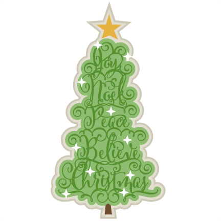 Christmas Word Tree scrapbook clip art christmas cut outs ...