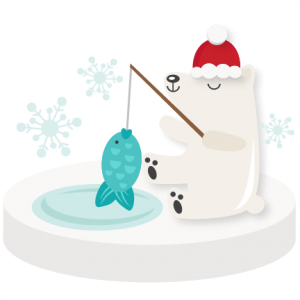 Fishing Polar Bear SVG scrapbook  winter svg cut file snowflake svg cut files for cricut cute svgs free