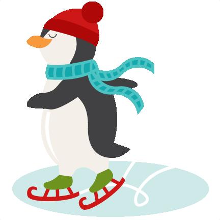 Ice Skating Penguin SVG scrapbook shape winter svg cut ...