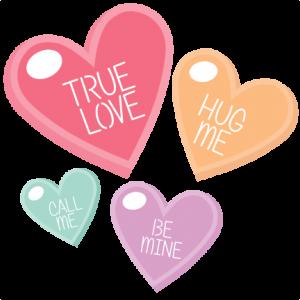 Candy Hearts scrapbook clip art valentiens cut outs for cricut cute svg cut files free svgs cute svg cuts
