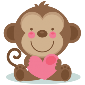 Cute Valentine Monkey scrapbook cuts SVG cutting files doodle cut files for scrapbooking clip art clipart doodle cut files for cricut free svg cuts