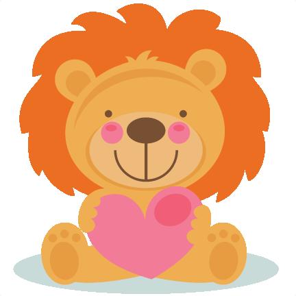 Cute Valentine Lion scrapbook cuts SVG cutting files ...
