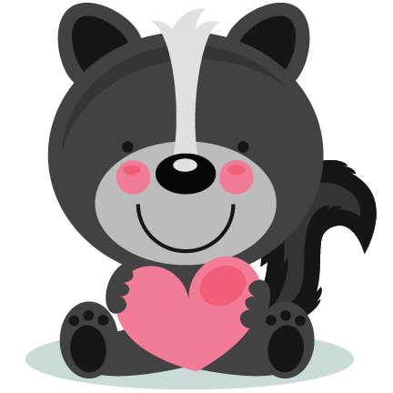 Cute Valentine Skunk scrapbook cuts SVG cutting files ...