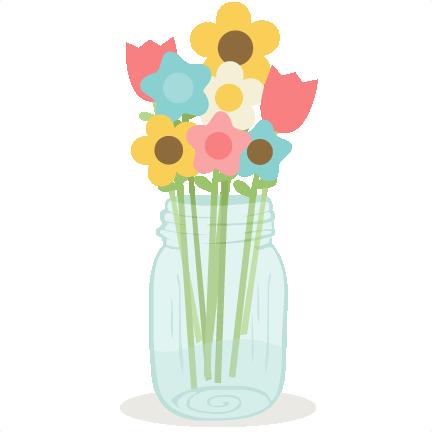 Mason Jar With Flowers Svg